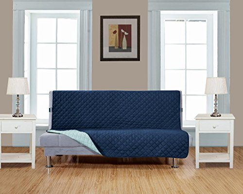 "Grand Linen Reversible Futon Cover 54"" X 75""-Furniture Protector For Pets, Kids, Dogs-Large Sofa, Standard Sofa, Loveseat, Futon Recliner and Arm Chair (FUTON-Navy/Blue)"