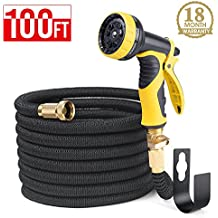 HOUSE DAY Expandable Garden Water Hose With 9-Way Spray Nozzle , Solid Brass Connectors ,Heavy Duty Magic Water Hose,(100FT,Black),Hose Hanger