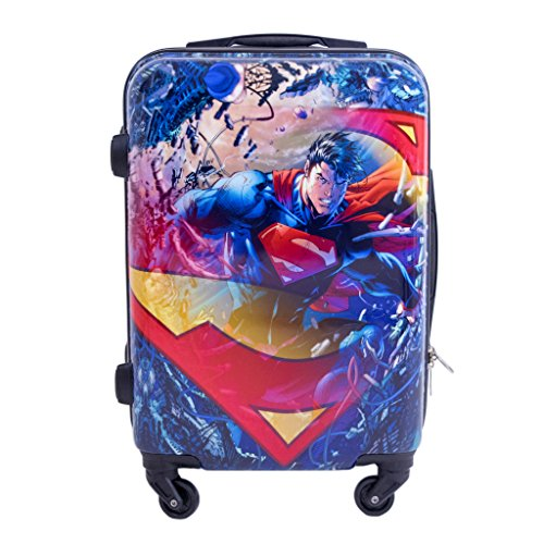 DC Comics Superman 21 Inch Spinner Rolling Luggage Suitcase, Upright Hard Case ()
