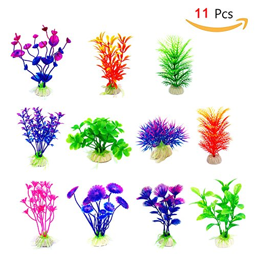 Cousduobe Artificial Aquatic Plants 10 Pcs Small Aquarium Plants Artificial Fish Tank Decorations,Used For Household And Office Aquarium Simulation Plastic Hydroponic Plants (Pc World Office)