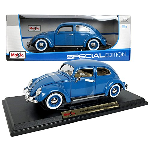 18 Maisto Special Edition (Maisto Special Edition Series 1:18 Scale Die Cast Car Set - Blue 1955 VOLKSWAGEN KAFER-BEETLE with Display Base (Dimension: 9