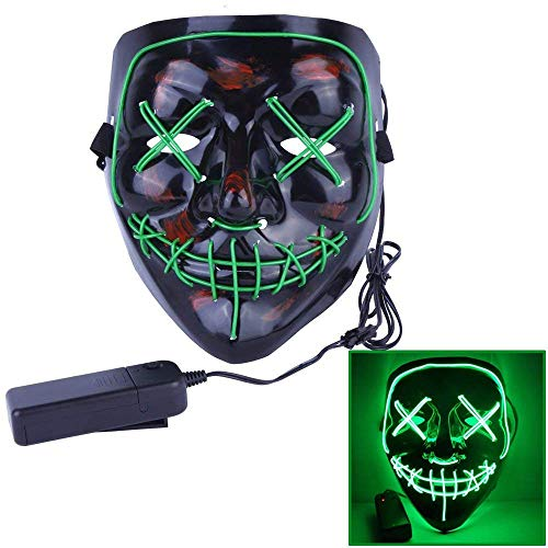 Halloween Mask Scary Grimace EL Cold Light Glowing Mask Light Up Grin Masks for Festival Cosplay Masquerade Prom Costume