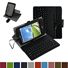 """Acer Iconia ONE 7 B1-750 Micro USB Keyboard Case,Mama Mouth Rotary Stand PU Leather Case Cover With Removable Micro USB Keyboard for 7"""""""" Acer Iconia ONE 7 B1-750 Android Tablet,Black"""