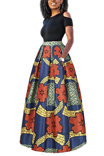 Yacun Las Mujeres Africanas Imprimir Una Linea Larga Coctel Vestido De Dos Piezas Verde