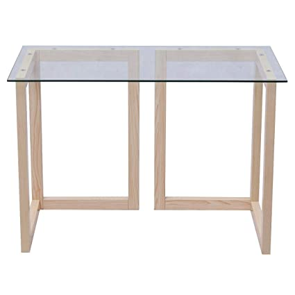 Maple Wood Coffee Table.Amazon Com Maple Wood 44 Tempered Glass Top Console Accent Coffee