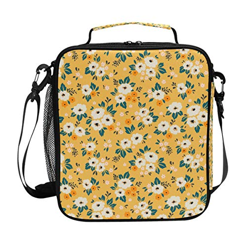 My Little Nest Insulated Cooler Square Tote Lunch Bag Elegant Small White Ditsy Flower Thermal Work Picnic Food Organizer Lunchbox for Women Men Kids