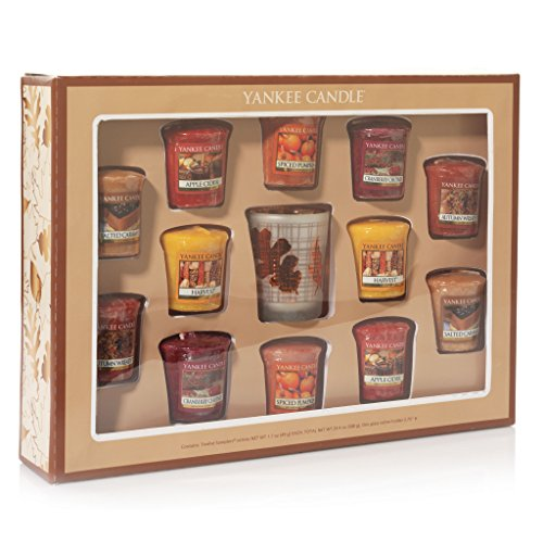 Yankee Candle Set of 12 Fall Votive Candles with Holder