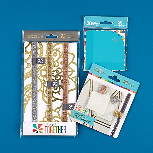 Erin Condren Planner Accessories Bundle: Metallic Pen Holder Trio, Metallic Elastic Bands, and Turquoise Corner Sticky Pocket