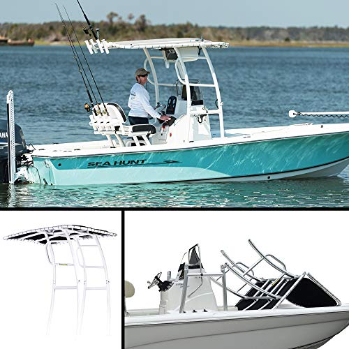 FISHMASTER MARINE TOWERS AND ACCESSORIES Boat TTOP for Center Console Fishing Boats- Universal FIT - White Power Coat - Black - Pro Series
