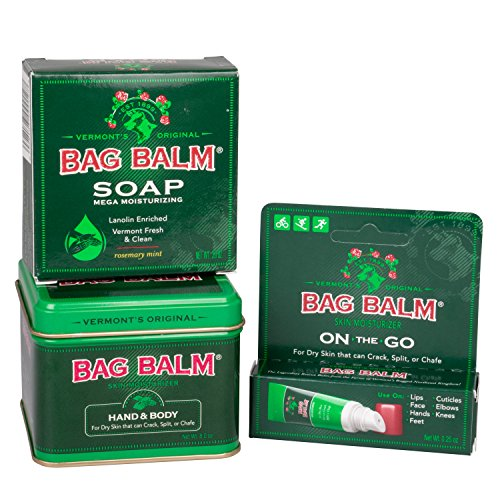 Bag Balm Skin Moisturizer and Moisturizing Soap - Pack of 3 (8 Ounce Tin, 0.25 Ounce On-the-go Tube, 3.9 Ounce Mega Moisturizing Soap)