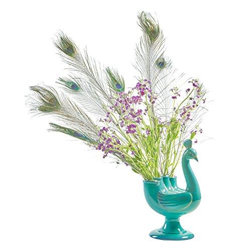 Pedestal Blue Vases (ART & ARTIFACT Peacock Figural Ceramic Vase - Pedestal Footed Teal 13