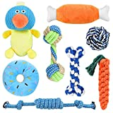 ERKOON Dog Toys, 8 Pack Dog Chew Rope Toys Durable Teething Pack for Puppy Squeak Toys for Dogs for Medium Dogs Small Puppy Toys Dog Birthday Gift Sets