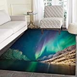 Nature Door Mats Area Rug Mystical Aurora Borealis Above The Rocky Hills Magnetic Poles Solar Space Panorama Floor mat Bath Mat tub 36''x60'' Jade Green