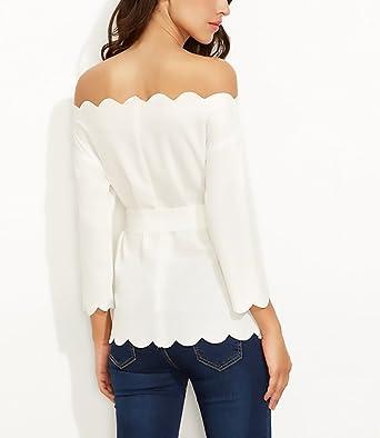 Camisas Mujer Manga Larga Blancas Fiesta Tops Barco Cuello Sin Tirantes Elegante Office Wear Cinturón Primavera Otoño T-Shirt Blusa Con Cremallera Slim ...