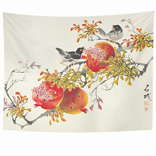 Ahawoso Tapestry 60x50 Inches Flowers Asian Painting Korean Ink Korea Birds Wall Hanging Home Decor Tapestries for Living Room Bedroom Dorm ()