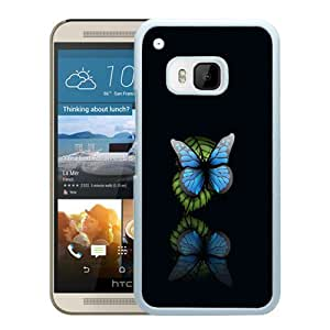 Unique HTC ONE M9 Blue Butterfly Black Background White Screen Phone Case Luxury and Cool Design
