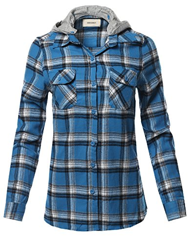 Awesome21 Casual Flannel Roll-Up Sleeves Button-Down Shirts with Hoodie Teal Black XL