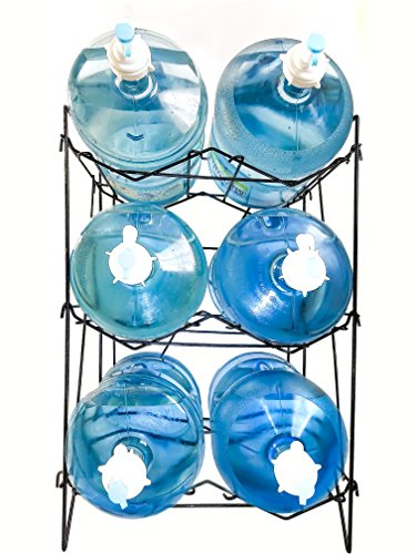 5 Gallon Water Bottle Shelf Rack Holder Dispenser Stand Storage For Glass Plastic Jug Container Stainless Steel Heavy Duty Collapsible Sturdy Durable Portable (3 Shelves)