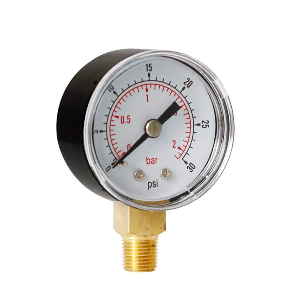 KUKALE Pressure Gauge Pressure 40mm Dial 1//8 BSPT Vertical 15,30,60.100,160 200 300 PSI /& Bar for Test