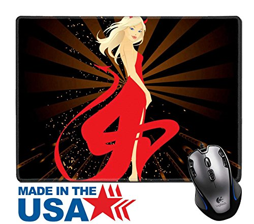 "Costumes Vector (MSD Natural Rubber Mouse Pad/Mat with Stitched Edges 9.8"" x 7.9"" IMAGE ID: 2945649 vector illustration of pretty woman dressed in Devil)"