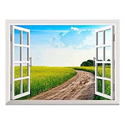 Removable Wall Sticker/Wall Mural - Peaceful Summer Rural Landscape in Wide Field with Country Road | Creative Window View Home Decor/Wall Decor - 36