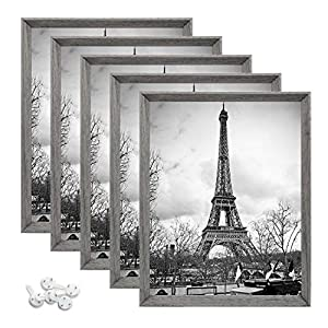 upsimples 8×10 Picture Frames with High Definition Glass,Display Pictures 5×7 with Mat or 8×10 Without Mat,Rustic Photo…