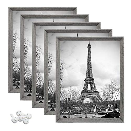 upsimples 8x10 Picture Frame with Real Glass,Display Pictures 5x7 with Mat or 8x10 Without Mat,Rustic Photo Frames for Wall or Tabletop Display,Set of 5