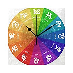 Wall Clock Your Zodiac Sign Silent Non Ticking Decorative Square Digital Clocks Battery Operated Indoor Outdoor Kitchen Bedroom Living Room 8 inch