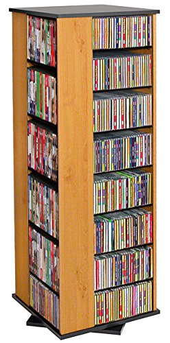 Venture Horizon Revolving Media Tower 900 Black with Oak (50 Inch Media Tower)