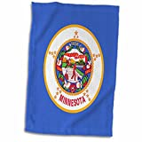 3D Rose Flag of Minnesota-Us American United States of America USA-Blue Indian on Horseback Seal Towel, 15'' x 22'', Multicolor