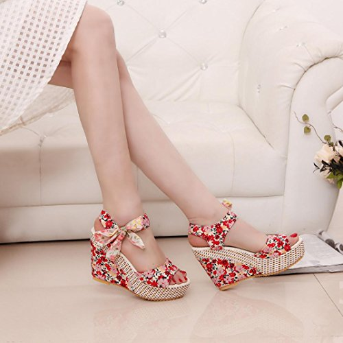 Lolittas Bohemian Wedge Sandals Women,Summer Beach Bridal Wedding High Heel Platform Strappy Open Toe Wide Fit Slingback Cushioned Outdoor Pantshoes Size 2-7 Red