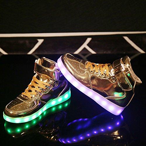 Gaorui Nieuwe Vrouwen Geleid Licht Lichtgevende Sneaker Hoge Top Liefhebbers Atletische Schoenen Usb Lading Goud