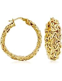 Certified Italian 14kt Yellow Gold Byzantine Hoop Earrings