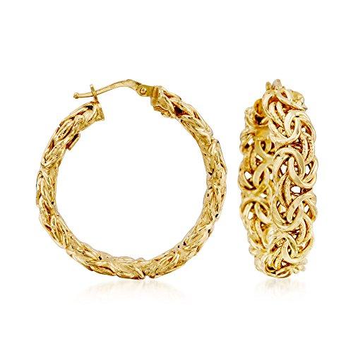 Ross-Simons Certified Italian 14kt Yellow Gold Byzantine Hoop Earrings