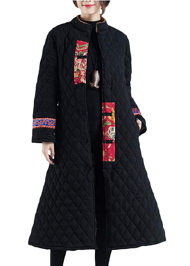 YUNY Womens Spliced Stand Collar Ethnic Floral Retro Wadded Jacket Black S