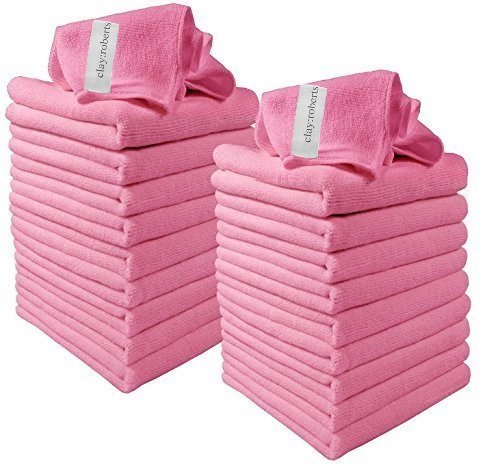Clay:Roberts Microfiber Cleaning Cloths, 20 Pack, Pink, All-Purpose Dust Cloths