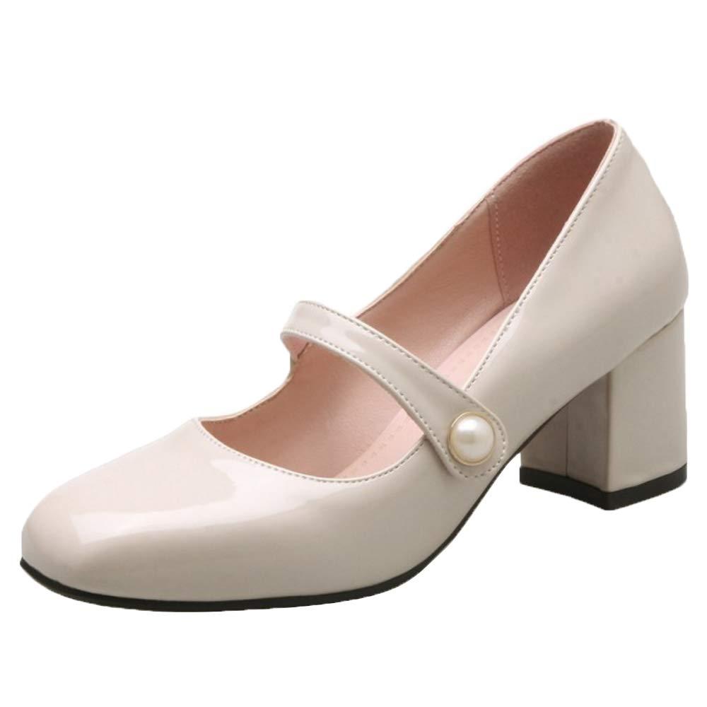 Zanpa Donne Tacco Blocco Mary Jane Pumps 2#beige