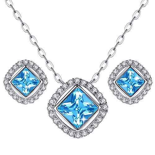 (GoSparkling Swarovski Jewelry Set - Pendant Stud Earrings Aquamarine Blue Crystal from Swarovski - Stud Earrings and Necklace for Women - Great Gift Idea)