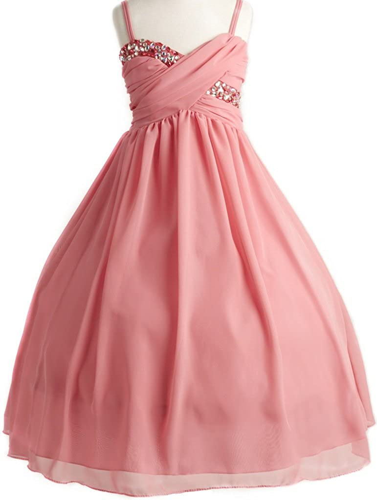 Amazon.com: Dreamer P Girls Dress Wrapped Crystal Ruched Chiffon ...