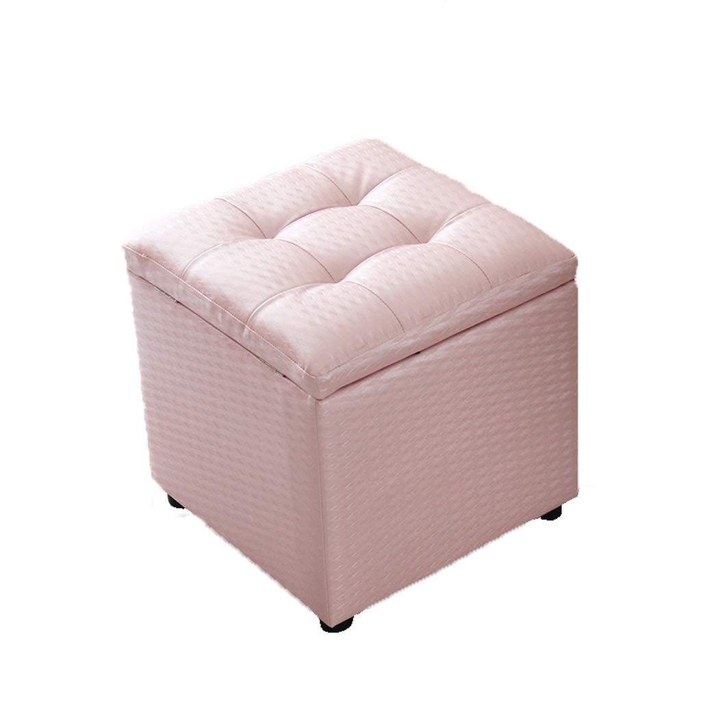Pink Lxrzls Storage Chair Stool Upholstered Footstool Square Pouffe Chair Multifunction Storage Chair (color   White)