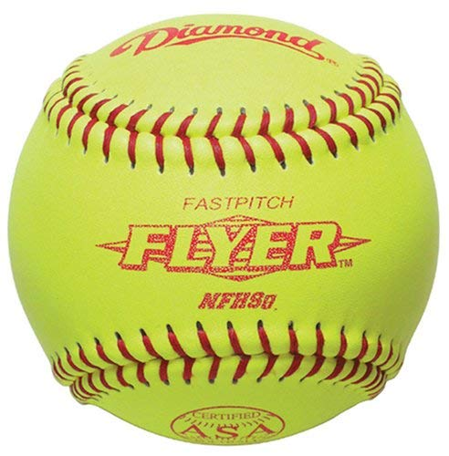 Diamond 12RFP .47 CL NFHS 12-Inch Leather Cover Fastpitch Softball - Yellow Nfhs Leather