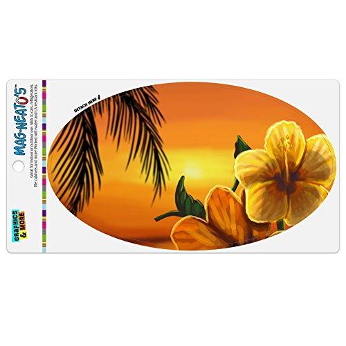 Graphics and More Beach Sunset Hibiscus Flower Hawaiian Automotive Car Refrigerator Locker Vinyl Euro Oval (Sunset Refrigerator Magnet)