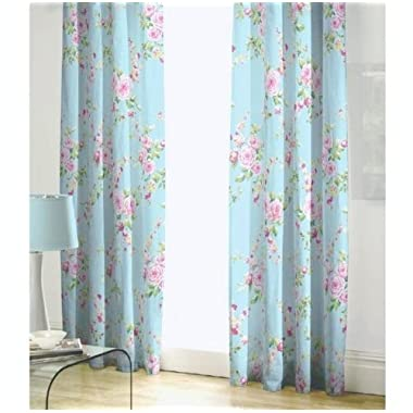 BLUE PINK ROSE FLORAL PENCIL PLEAT LINED COTTON CURTAINS DRAPES 66  X 72  TO MATCH DUVET