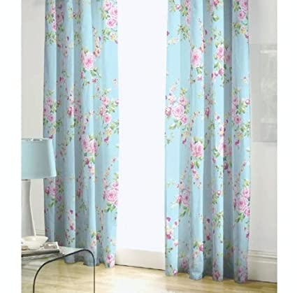 Amazon BLUE PINK ROSE FLORAL PENCIL PLEAT LINED COTTON CURTAINS