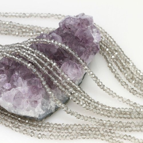 Smoky Quartz Faceted Rondelle Beads - 9