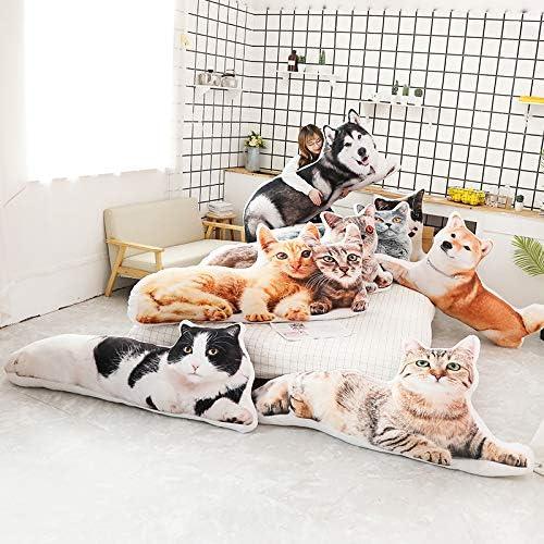 elfishgo 猫 犬型 装飾クッション 3Dシミュレーションぬいぐるみ ぬいぐるみ クッション 枕 おもちゃ 子供 家 ベッド ソファ ペット用 31インチ ブラウン