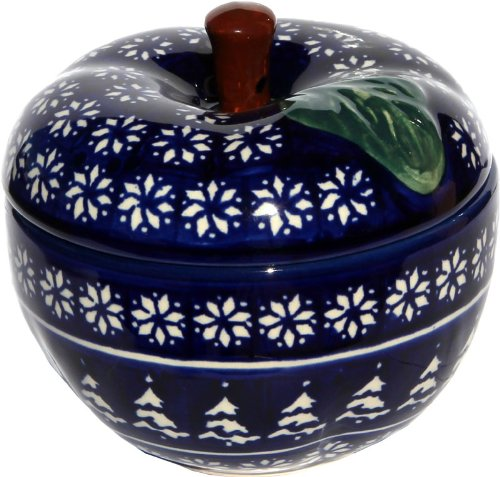 Polish Pottery Apple Baker From Zaklady Ceramiczne Boleslawiec #1425-243a Classic Pattern, Dimensions: Width: 4.9