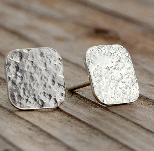 Flat sterling silver disc stud post earrings lightweight 10mm squares modern minimalist jewelry for men women girls