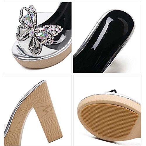 SHEO sandalias de tacón alto Rhinestones transparentes de las mujeres con las zapatillas gruesas de las palabras Blanco