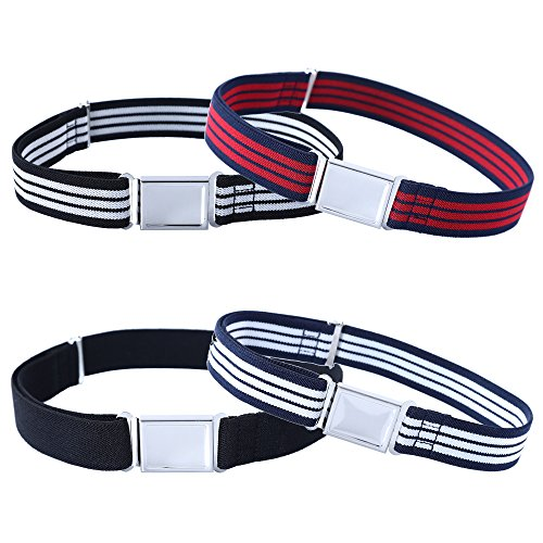 Classic Kids Belt (4PCS Kids Boys Adjustable Magnetic Belt - Big Elastic Stretch Belt with Easy Magnetic Buckle (Stripes/Black))